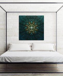 kwadratowy obraz w sypialni