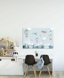 obraz z balonami i samolotami