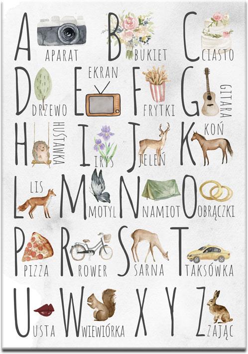 kolorowy alfabet na obrazie