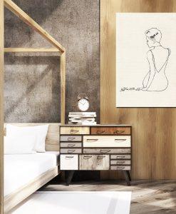 sypialnia z obrazem kobiety