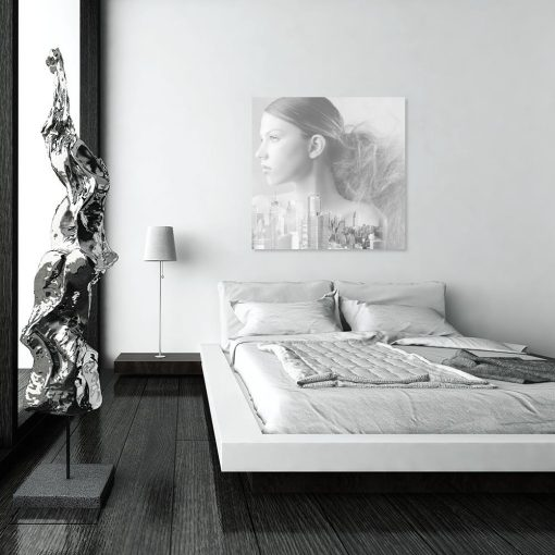 Obraz szary do dekoracji sypialni