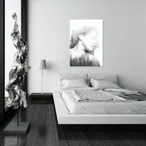 Obraz w kolorze czarno-białym do sypialni