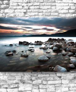 Obraz zachód słońca nad jeziorem