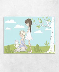 Niebieski obraz z dziewczynkami