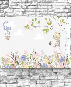 Obraz z dziewczynką i kwiatami