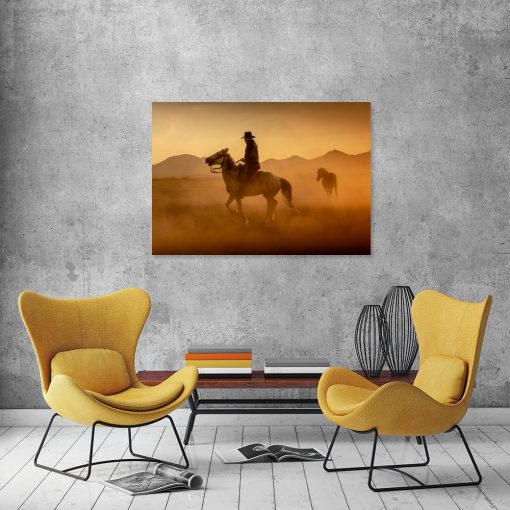 Obraz kowboj i koń