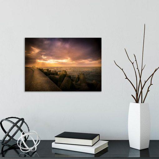 Obraz morze i falochron