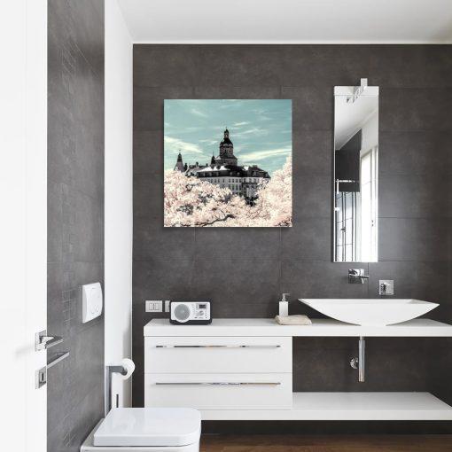 Obraz czarno-biały zamek