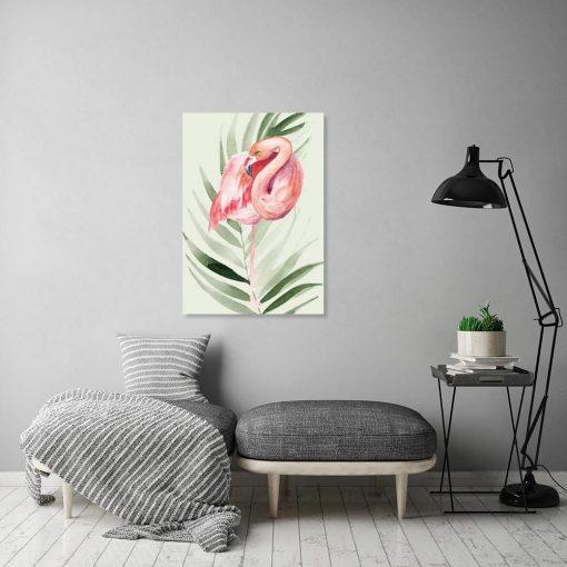 Obraz flaming i liść