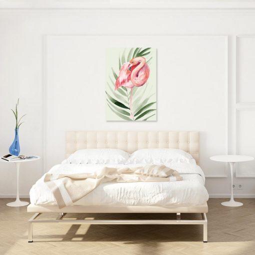 Obraz tropikalny z flamingiem