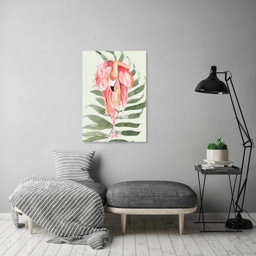 Obraz tropikalny z motywem flaminga