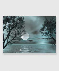 Obraz z księżycem i wodą