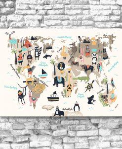 beżowy obraz z mapą świata
