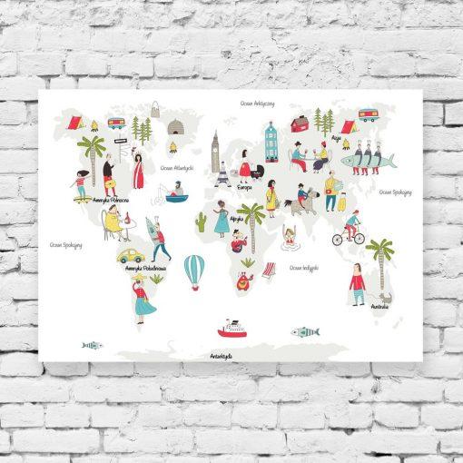 obraz edukacyjny z motywem mapy świata