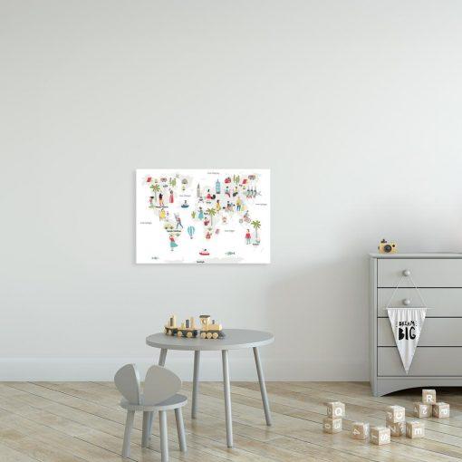 kolorowa mapa świata na obrazie