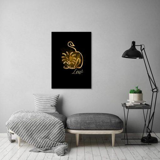 lew jako motyw żółto-czarnego obrazu