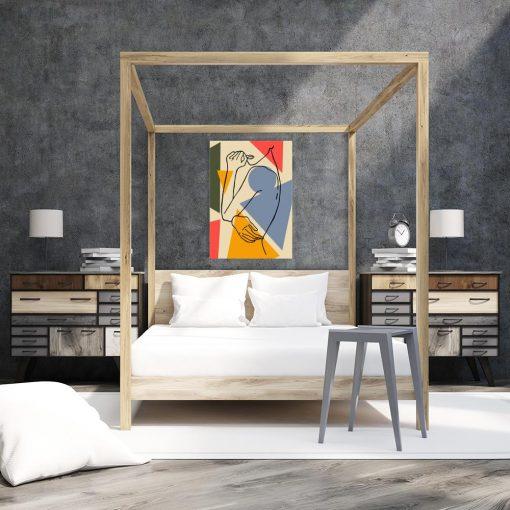 geometryczny obraz do sypialni