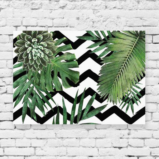 obraz czarno-biały z motywem liści