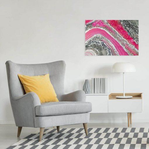 obraz różowy salonowy