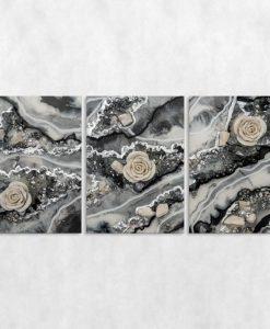 szara dekoracja jako tryptyk resin art