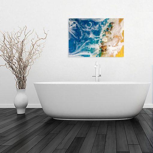 obraz niebieski jako dekoracja do łazienki