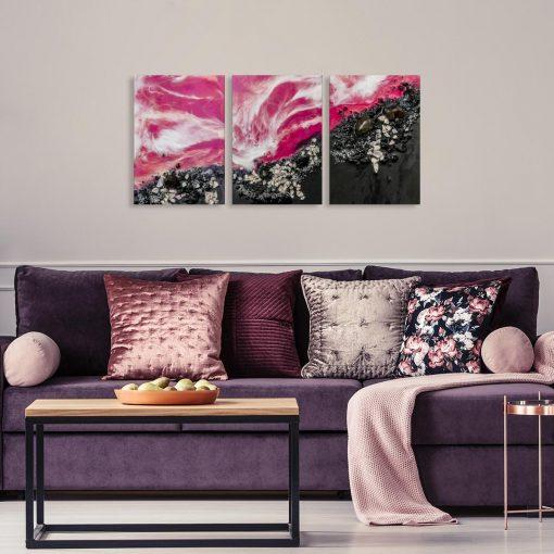 różowa dekoracja w formie tryptyku