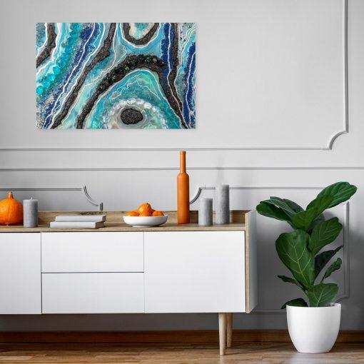 obraz z turkusową abstrakcją