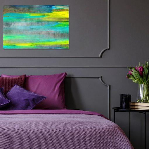 obraz do sypialni z plamami farby