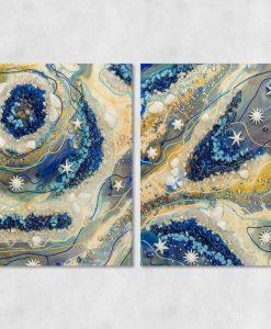 dwuczęściowy zestaw obrazów z zywicy epoksydowej