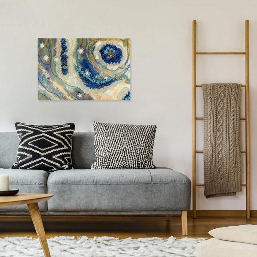 salon i obraz resin malarstwo geode art żywica niebieski