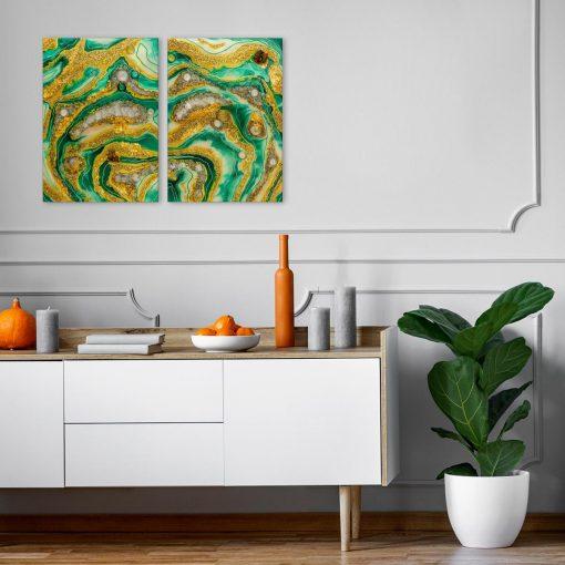 Obraz dyptyk abstrakcja z żywicy epoksydowej reprodukcja malarstwa