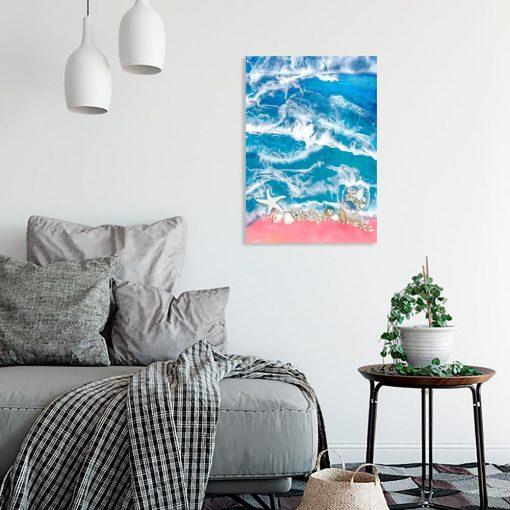 dekoracja do salonu obraz morski motyw z muszelkami