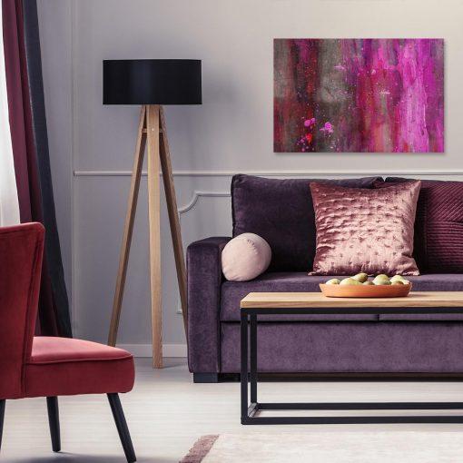 obraz z różowymi mazajami do salonu