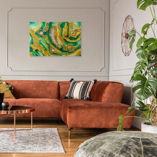 obraz do salonu z motywem abstrakcyjnym żółto zielony