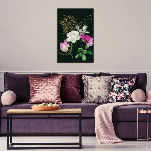 Obraz z kwiatami na czarnym tle na ścianę salonu