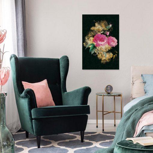 Obraz różowo-złoty do sypialni