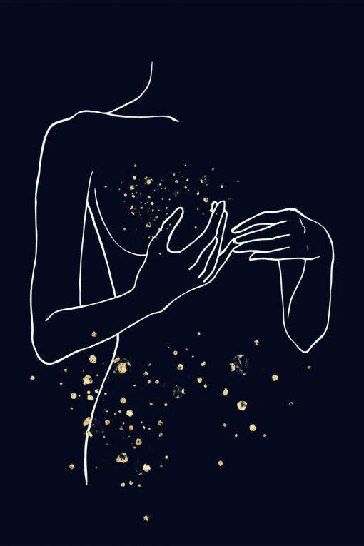 Obraz z motywem kobiety w stylu Line Art