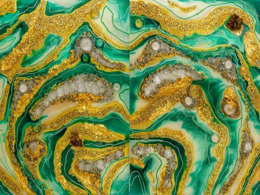 dyptyk obraz kolorowa abstrakcja ze złotymi elementami i kamyczkami