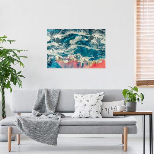 Inspiracja do salonu obraz z żywicy resin sea morze