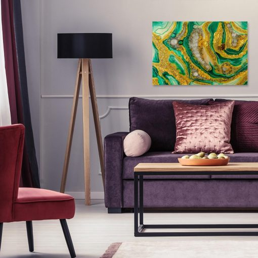 Obraz malarstwo żywicą reprodukcja na płótnie abstrakcja zielona