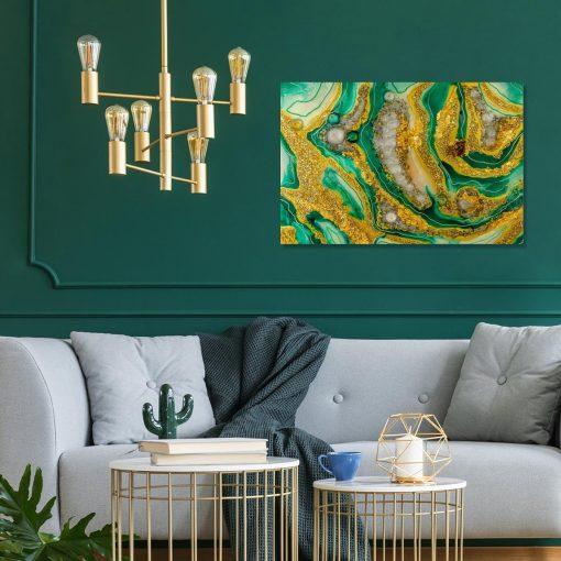 Dekoracja do salonu obraz z abstrakcją kamieniami i złotem