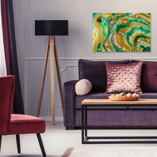 Obraz z abstrakcyjnym wzorem żółto zielony ze złotem