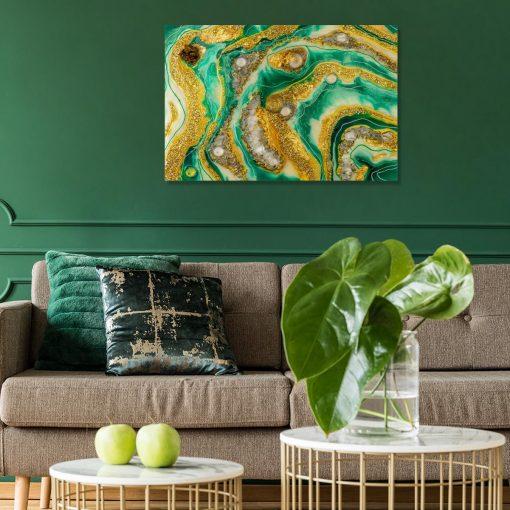 Inspiracja do salonu obraz geode art sztuka żywiczna abstrakcja
