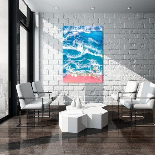 obraz z wzorem morza w różowo niebieskich odcieniach