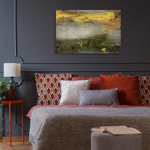 obraz do sypialni z abstrakcyjnymi plamami farby