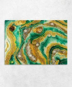 Obraz motyw abstrakcyjny ze sztuką żywiczną kamieniami i złotem