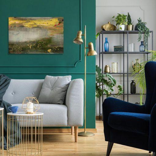 obraz do salonu przedstawiający plamy farby na betonie