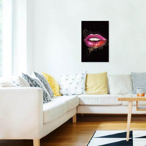 Obraz z motywem ust do salonu