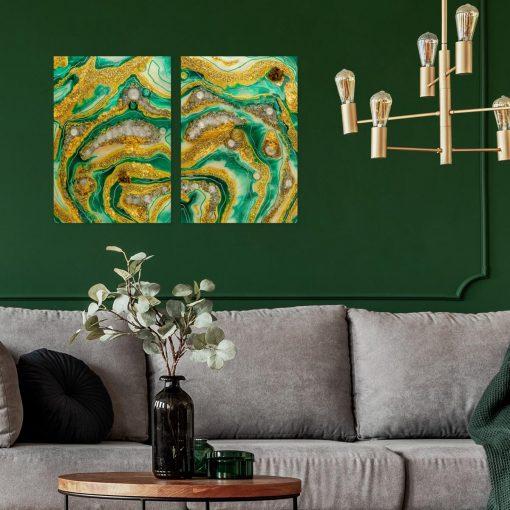 Dekoracja do salonu obraz dyptyk abstrakcja z mazajmi i kamieniami geode art