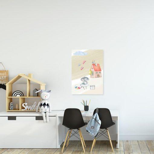Obraz do pokoju dziecięcego - Myszka z balonem